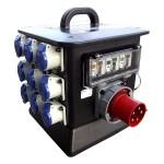 63A Distribution Box 1 x 63A 415v 3PH+N+E Appliance Inlet 3 x 32A 240v 1PH+N+E Sockets 12 x 16A 240v 1PH+N+E Sockets 3 x 63A SP MCBs 3 x 63A 30ma DP RCDs 3 x 32A SP MCBs 12 x 16A SP MCBs 1 x Set Incoming LEDs